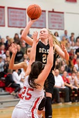 Delone Catholic's Brooke Lawyer floats a jump shot during the fourth quarter against Bermudian Springs Monday, Jan. 20, 2020. Lawyer finished the game with 12 points, including one 3-pointer.