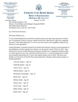 Rep. Gosar's Jan. 13 letter to the Director of the NHHC