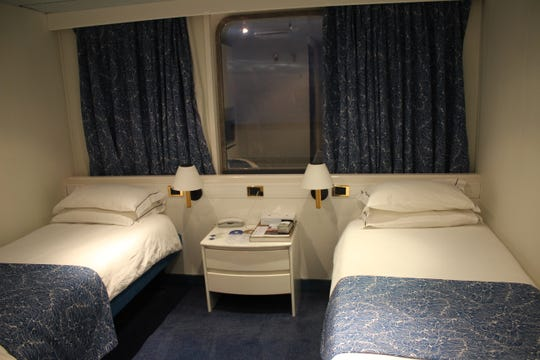A deluxe twin cabin in Cruise and Maritime Voyage's Astoria cruise ship.