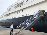 Passengers disembarking at Guaymas from the Astoria cruise ship.