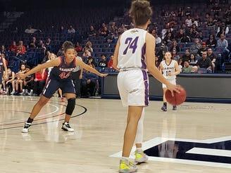 Jan. 20, 2020; Sahuaro girls basketball forward Alyssa Brown guards Sabino forward Kiya Dorroh in the MLK Day Classic in Tucson, Ariz.