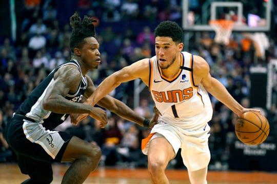 Phoenix Suns guard Devin Booker (1) drives on San Antonio Spurs guard Lonnie Walker IV during the second half of an NBA basketball game Monday, Jan. 20, 2020, in Phoenix. San Antonio won 120-118. (AP Photo/Rick Scuteri)