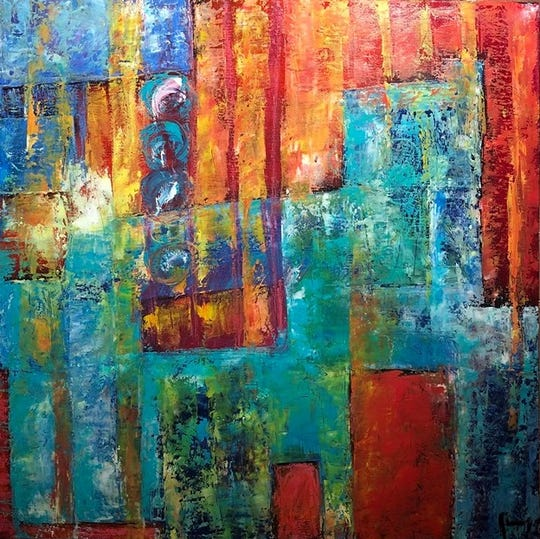 Poughkeepsie artist Pilar Jimenez exhibits her abstract paintings at Gallery 40.