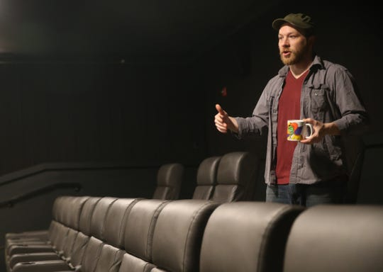 Mike Budge, owner and programmer of Story Screen Beacon Theater describes the moviegoing experience at his theater while in the main theater on January 15, 2020.