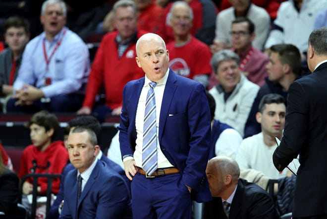 Penn State head coach Pat Chambers reacts during the first half of an NCAA college basketball game between Rutgers and Penn State, Tuesday, Jan. 7, 2020, in Piscataway, N.J. Rutgers won 72-61. (AP Photo/Michael Owens)