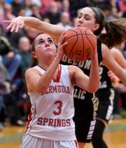 Makenna Mummert of Delone Catholic blocks a lay-up attempt by Skyler West of Bermudian Springs, Monday, January 20, 2020,John A. Pavoncello photo