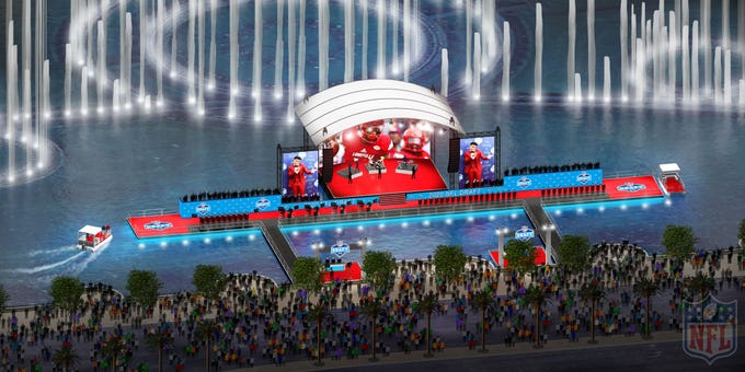 Rendering of the 2020 NFL Draft red carpet on the Fountains of Bellagio water