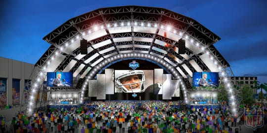 Rendering of the 2020 NFL Draft main stage
