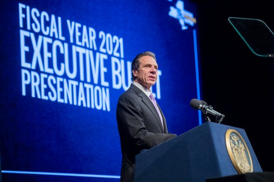 Gov. Andrew Cuomo proposed ways to close a $6 billion budget gap for the fiscal year that starts April 1 during his budget presentation Jan. 21, 2020, near the state Capitol.