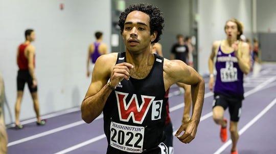 Derek Holdsworth won the 800 meter race at the Washington/Dempsey Indoor Meet.