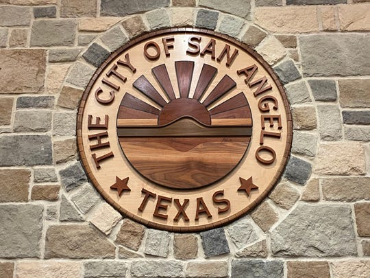 The City of San Angelo logo appears in the wall at City Council chambers in the convention center.