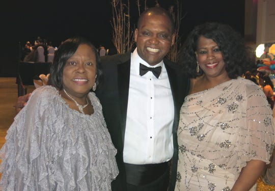 Caddo School Board member Dottie Bell, Caddo School Supt. Lamar Goree and wife Kimberly at Sobek Grande Ball.