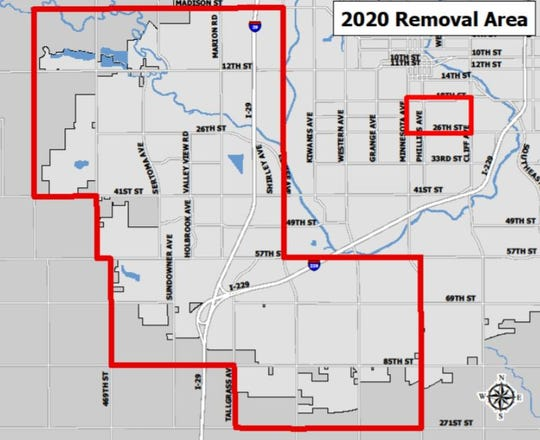 Since the discovery of the Emerald Ash Borer in Sioux Falls in spring 2018, the city of Sioux Falls has removed nearly 3,000 ash trees from the community. In 2020, the forestry division will focus primarily on the southwest portion of Sioux Falls.