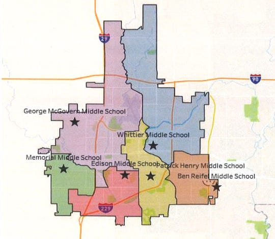 This is version one of three potential ideas presented to a school boundary task force Monday, Jan. 20, 2020, by the Sioux Falls School District.