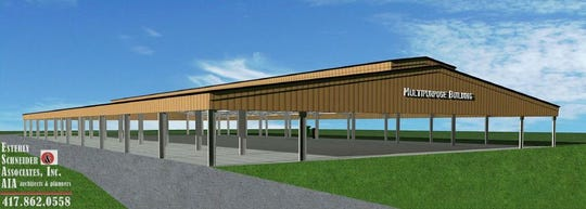 A rendering of a new multipurpose barn that will be built at the Ozark Empire Fair.