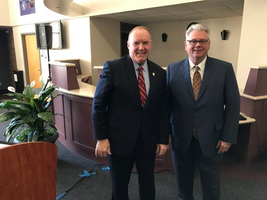 (L-R)  Flagler College President Joseph Joyner and Tallahassee Community College President Jim Murdaugh pose for a photo Tuesday after signing an agreement to increase the number of teacher candidates in Florida.