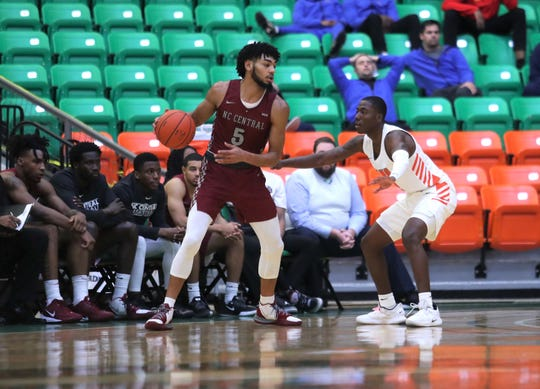 Former TCC guard Deven Palmer, who now plays for North Carolina Central, goes against Kamron Reeves of FAMU. Palmer scored 12 points in a 66-57 loss to the Rattlers on Monday, Jan. 20, 2020.