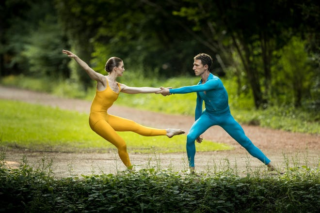 """Suite For Two from """"Cunningham,"""" which through a compilation of archival material and re-creations of Merce Cunningham's works, chronicles the legendary artist's choreographic innovations."""