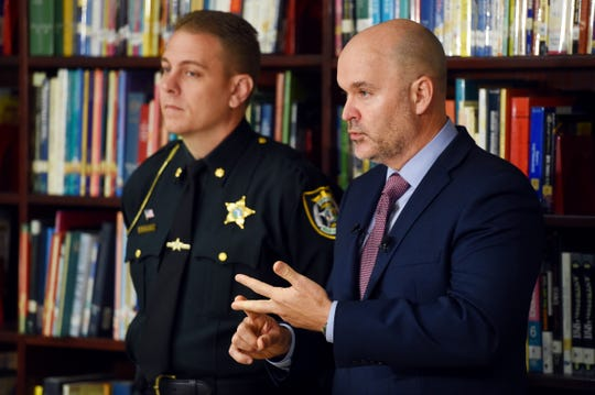 Indian River County School District Superintendent Dr. David Moore (right) and Maj. Eric Flowers, spokesperson for the Indian River County Sheriff's Office, address the media on Tuesday, Jan. 21, 2020, concerning a fatal shooting that involved four Indian River County high school students at a BP Express Mart at the intersection of 20th Avenue Southwest and Oslo Road. Camden Stukins, 18, a Vero Beach High School senior, was arrested and charged with first-degree murder, attempted murder, shooting or throwing deadly missile, tampering with or destroying evidence, sale or possession of marijuana with intent to deliver.