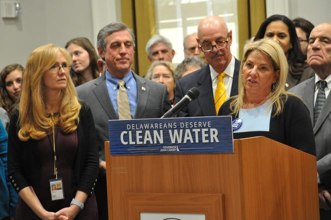 House Majority Leader Valerie Longhurst, D-Bear (right) speaks at a press conference on Tuesday, Jan. 21, 2020 announcing the state's clean water plan for next fiscal year.