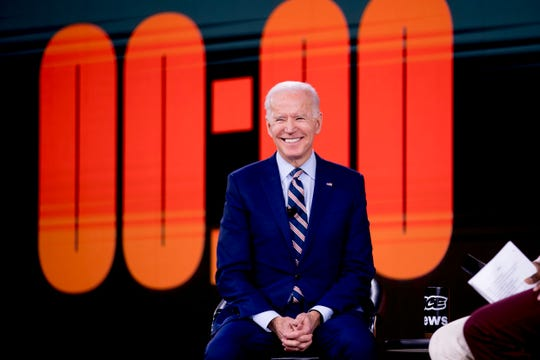 Democratic presidential candidate former Vice President Joe Biden appears at the Brown & Black Forum at the Iowa Events Center, Monday, Jan. 20, 2020, in Des Moines, Iowa. (AP Photo/Andrew Harnik)