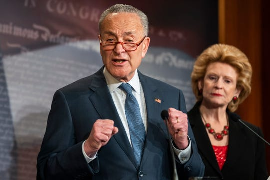 Senate Minority Leader Chuck Schumer, D-N.Y., speaks on the impeachment rules proposed by Senate Majority Leader Mitch McConnell, R-Ky., in the U.S. Capitol on Tuesday.