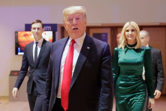 President Donald Trump, Ivanka Trump and Jared Kushner at the World Economic Forum in Davos, Switzerland, on Jan. 21, 2020.