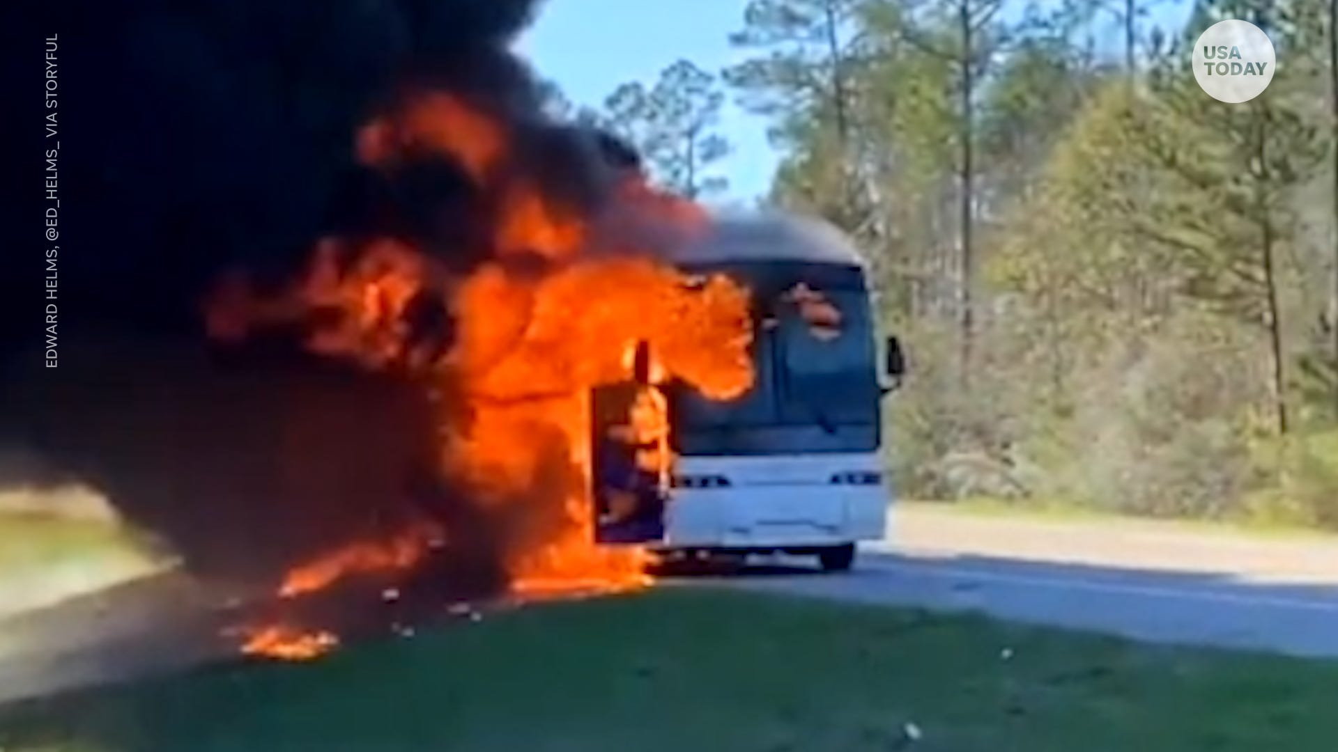 University of Alabama students escape injury after charter bus bursts into flames in Mississippi