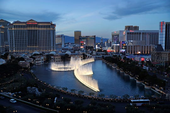 In this April 4, 2017, file photo, the fountains of Bellagio erupt along the Las Vegas Strip in Las Vegas. The NFL on Tuesday, Jan. 21, 2020, detailed its draft plans for April 23-25 on the city's glittering Strip.