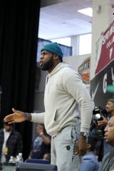 LeBron James at the HoopHall Classic on Monday.