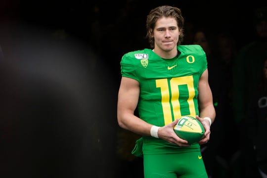 Oregon Ducks quarterback Justin Herbert (10) waits in a tunnel during senior day introductions before a game against the Oregon State Beavers at Autzen Stadium.