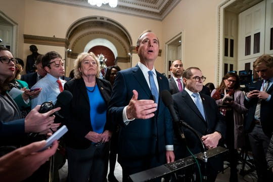 House impeachment manager Adam Schiff, D-Calif., speaks on the impeachment rules proposed by Senate Majority Leader Mitch McConnell in the U.S. Capitol on Tuesday