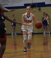 Buckeye's Brooke Kendrick (11) scans the floor for an open player against Caldwell Parish High School Tuesday, Jan. 22, 2020. Caldwell won 62-60.
