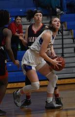 Buckeye's Gracelyn Adams (12) goes up for a shot against Caldwell Parish High School Tuesday, Jan. 22, 2020. Caldwell won 62-60.