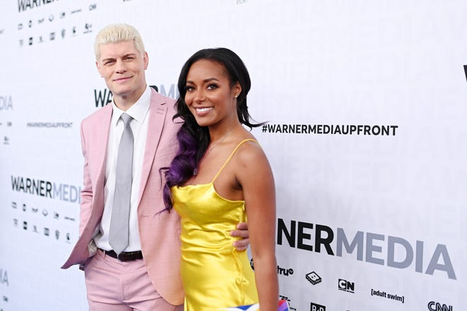 Cody Rhodes and Brandi Rhodes of TNT's All Elite Wrestling attend the WarnerMedia Upfront 2019 arrivals on the red carpet at The Theater at Madison Square Garden on May 15, 2019 in New York City.