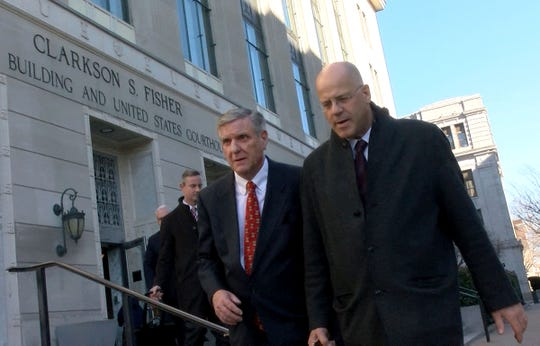 Former Ocean County Republican Chairman George R. Gilmore (left, red tie), leaves the Federal Courthouse in Trenton Wednesday, January 22, 2020, with his attorney Kevin Marino. Gilmore was sentenced to 366 days in prison on federal tax convictions.