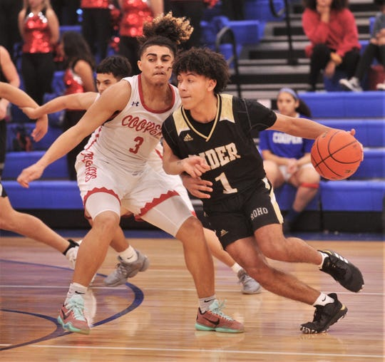 Rider's Kellar Owens (1) tries to drive around Cooper's Noah Garcia. Rider beat the Cougars 71-48 in the District 4-5A game Tuesday, Jan. 21, 2020, at Cougar Gym.