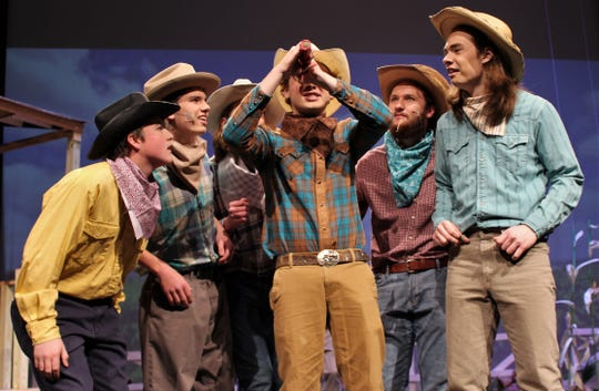 "In these days of social-distancing, these fellers from Abilene High School's production of ""Oklahoma!"" would be standing too close to each other. As students learn online, the arts are challenged  by being away from campus."