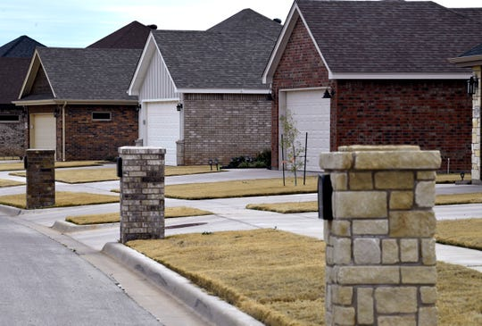 New homes are lined up in a new south Abilene neighborhood Tuesday.
