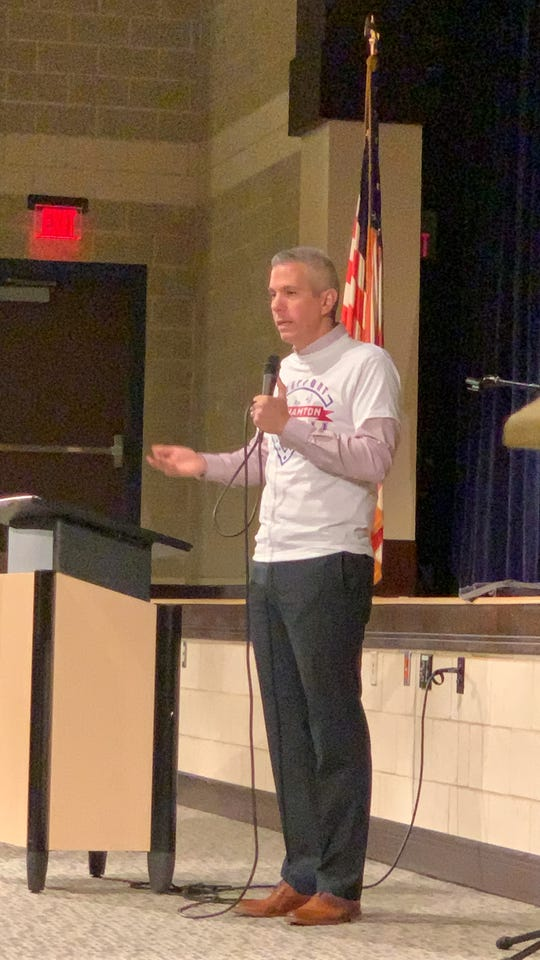 Rep. Anthony Brindisi spoke to more than 100 constituents at his town hall in Maine-Endwell Tuesday, Jan. 21, 2020.