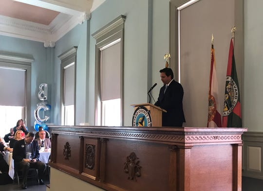 Governor Ron DeSantis addresses Brevard business leaders in Tallahassee. The Titusville, Palm Bay, Melbourne Regional and Cocoa Beach chambers of commerce sent local business people and officials to the capitol to promote legislation they believe supports Brevard's business interests.