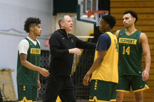 Vermont head coach John Becker talks to the team during the Vermont Catamounts men's basketball practice at Patrick Gym on Tuesday January 21, 2020 in Burlington, Vermont.