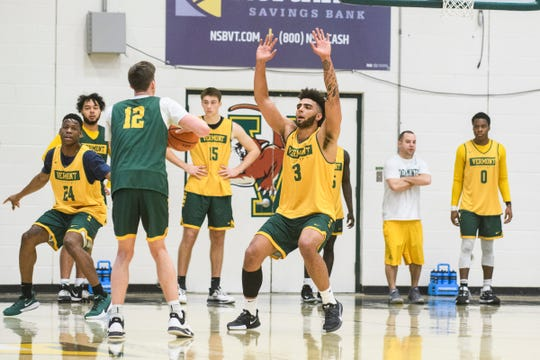 Vermont's Anthony Lamb (3) guards Bailey Patella (12) during the Vermont Catamounts men's basketball practice at Patrick Gym on Tuesday January 21, 2020 in Burlington, Vermont.