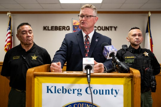 Kleberg County District Attorney John Hubert on Wednesday, Jan. 22, 2020, announces that Amanda Noverr and Adam Curtis Williams were indicted for tampering with evidence, felony theft and felon in possession of a firearm. The two were taken in to custody in November of 2019 in connection to the deaths of James and Michelle Butler of New Hampshire.