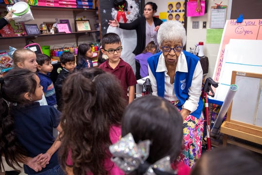 """Conster """"Granny"""" Davis volunteers in this pre-kindergarten class at Galvan Elementary School. She celebrated her 100th birthday with the students, as well as other students, staff, and volunteers on Wednesday, January 22, 2020."""