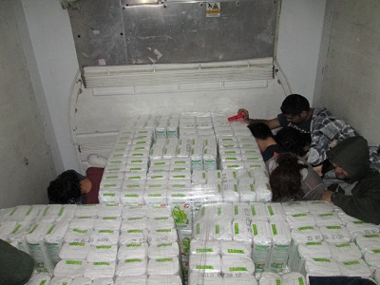 Border Patrol agents in Falfurrias found 11 undocumented people hiding inside a trailer between pallets of flour on Jan. 17, 2020.