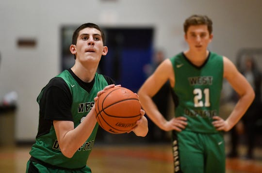 West Deptford's MJ Iraldi shoots the ball during Tuesday's basketball game against Overbrook. Visiting West Deptford defeated Overbrook 61-56 on Jan. 21, 2020.