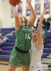 Huntington's Allison Basye goes up for a layup during a game against Adena on Tuesday Jan. 21, 2020 at Adena High School in Frankfort, Ohio.