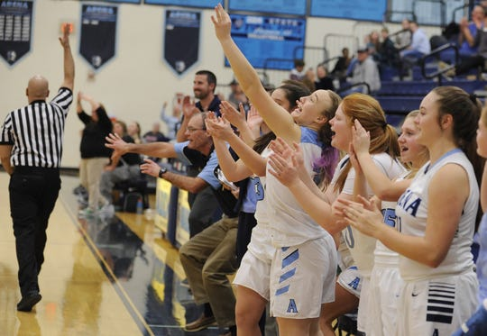 Adena's bench celebrates during a 65-60 win over Huntington on Tuesday Jan. 21, 2020 at Adena High School in Frankfort, Ohio.