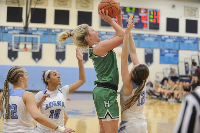 Huntington's Allison Basye goes up for a shot during a game against Adena on Tuesday Jan. 21, 2020 at Adena High School in Frankfort, Ohio. Basye earned the 2019-20 SVC Player of the Year award on Wednesday.